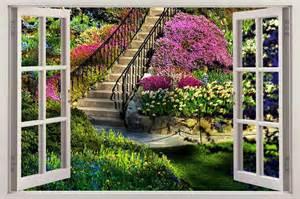 Garden Wall Mural garden view 3d window decal wall sticker home decor art