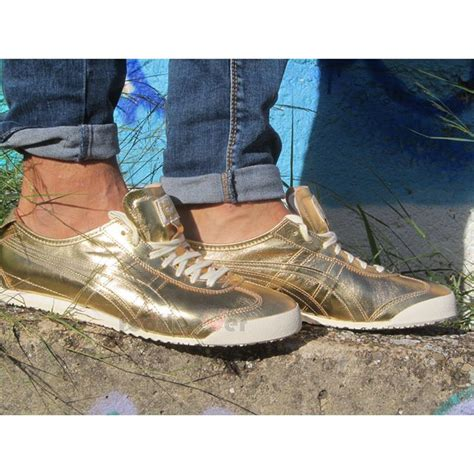 Po Limited Onitsuka Tiger Mexico 66 Leather Gold Gold shoes onitsuka tiger mexico 66 d6g1l 9494 gold