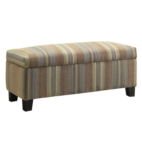 striped storage bench homesullivan putnam fabric storage bench in mocha tonal