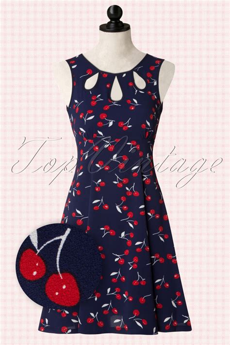 Dress Chery 50s cherry songbird dress in navy