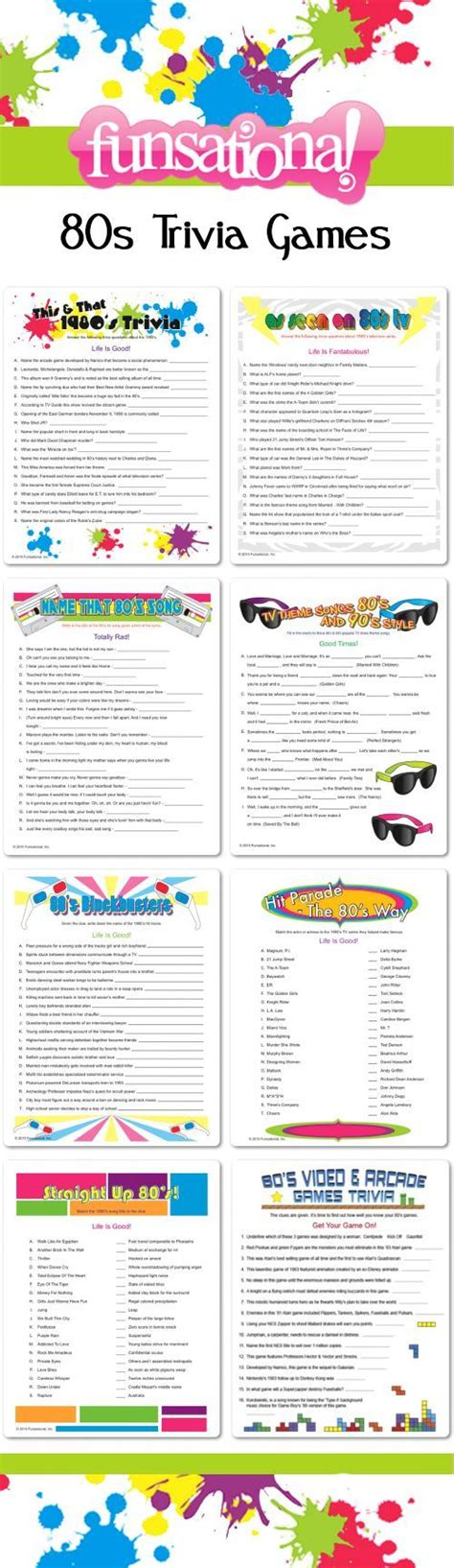 theme party quiz 80s trivia games from funsational personalize each one