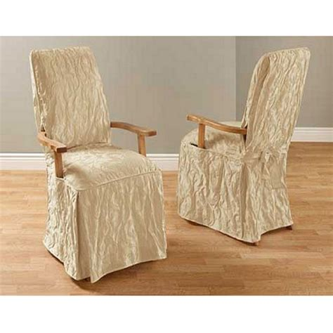 dining room chair covers with arms matelasse damask long arm dining room chair cover ebay