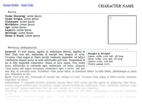 character profile sheet template pictures to pin on