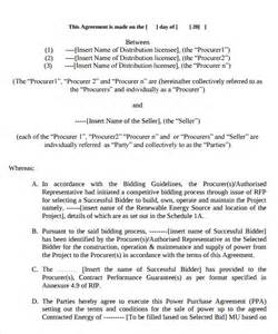 sample power purchase agreement 7 download documents in