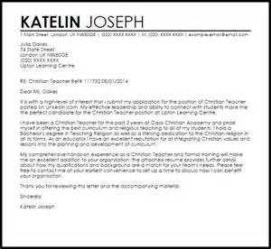Christian Teacher Cover Letter Sample   LiveCareer