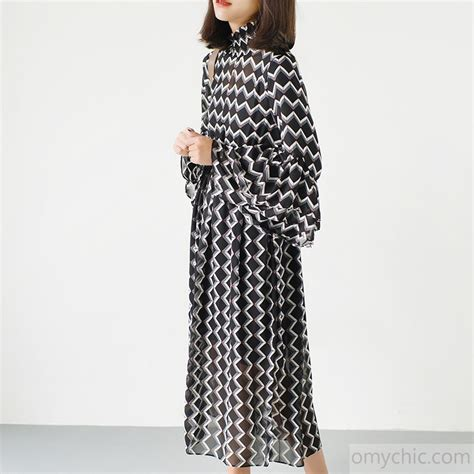 Print Sleeve Chiffon Dress black high neck chiffon maxi dresses print fabric