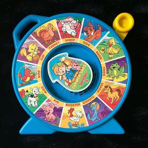 vintage blue  mattel    farmer  animal sounds baby toy pull spin ebay animal