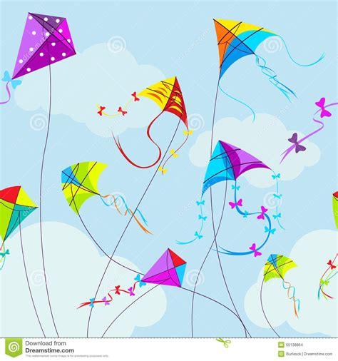colorful kites wallpaper vector illustration of colorful kites and clouds stock
