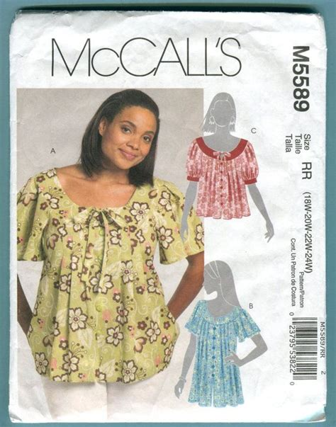 sewing pattern ladies top mccalls 5589 top peasant blouse sewing pattern view c only
