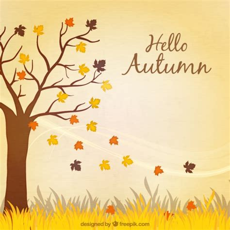 hello autumn background with a tree vector free download