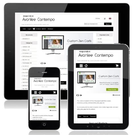 responsive avonlee contempo responsive zen cart mobile