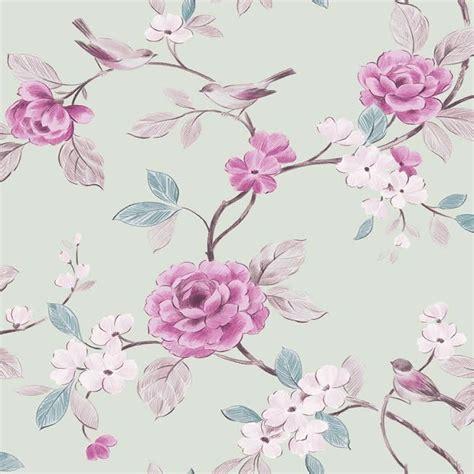 Laras Green mint pink 414500 lara floral bird leaf
