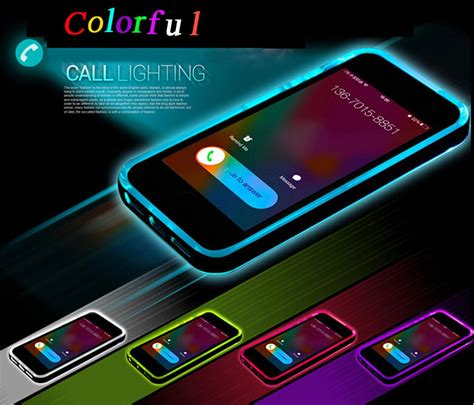 Blink Iphone 5 Blue led blink light up remind incoming call tpu pc cover f