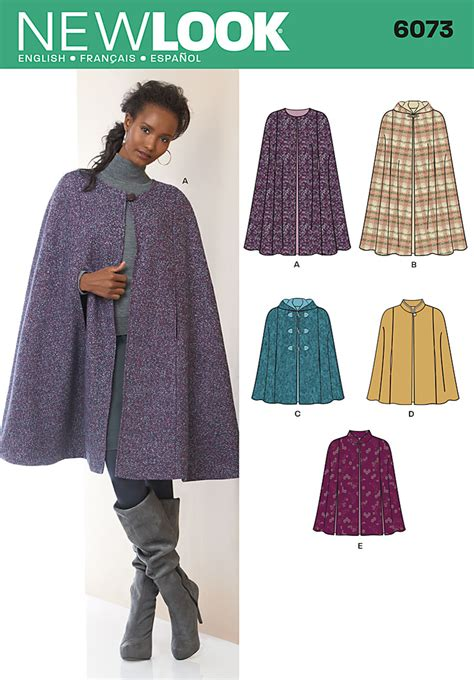 sewing pattern hooded cape 2 2012 simplicity new look misses cape in two lengths