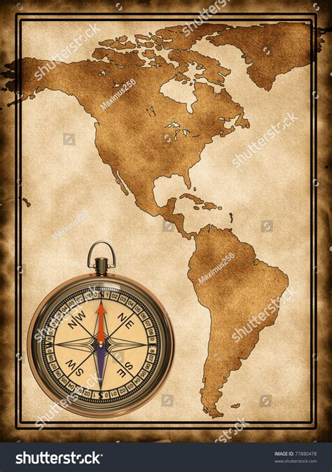 map of usa with compass map compass south america on stock illustration