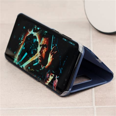 View Stending S8plus official samsung galaxy s8 plus clear view stand cover blue mobilefun india