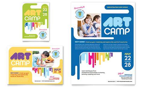 desain brosur kursus bahasa inggris kids art c flyer ad template design
