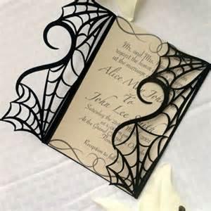 Gothic spider web halloween wedding invitation gatefold diy kit spooky