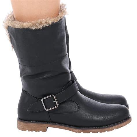 d9z womens fur collar warm winter flat pull on