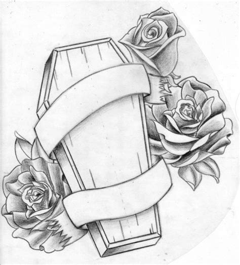coffin tattoo design coffin design idea with roses and banner coffin