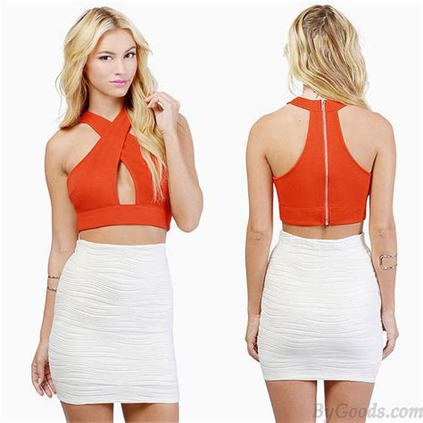 Tc17 Sleeveless Cross Shoulder Details Top Cross Shoulder Sleeveless Vest Chest Wrapped Slim Top S Tops Clothing