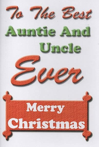 family christmas cards    auntie  uncle  merry christmas
