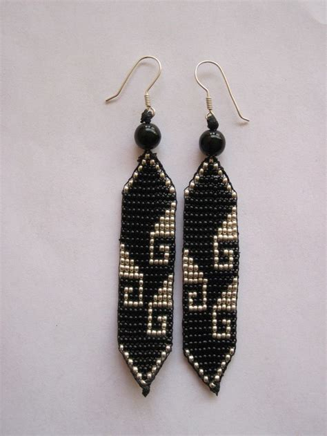 free seed bead earring patterns black and silver mexican greca beaded earrings
