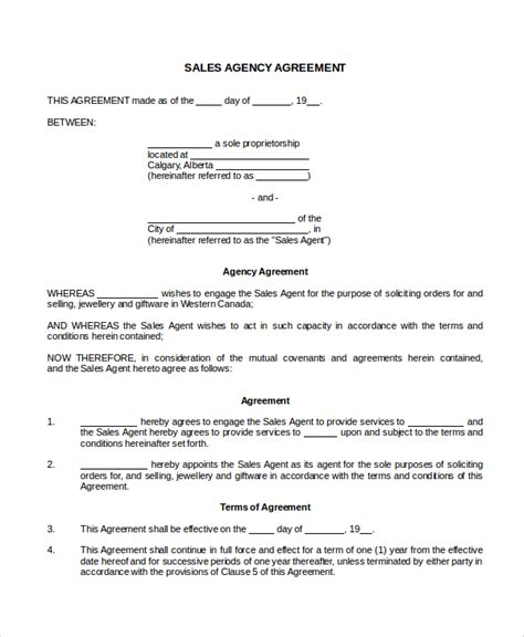 sales agency agreement template free sales agency agreement template