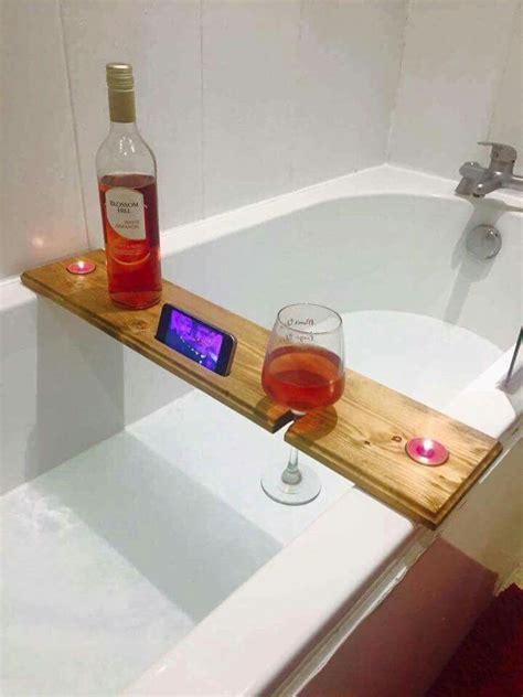 bathtub wine holder handmade rustic reclaimed wooden bath buddy bath shelf