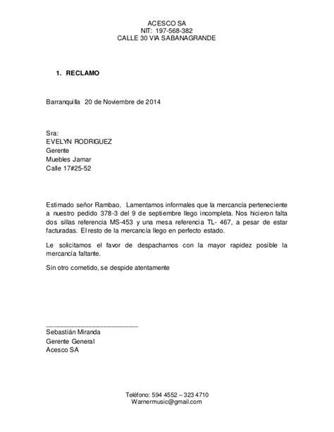 carta formal de reclamacion carta reclamo