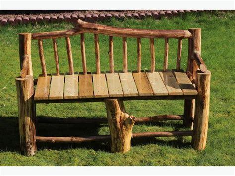 wood log bench a1 varnished wooden log bench rustic wood garden