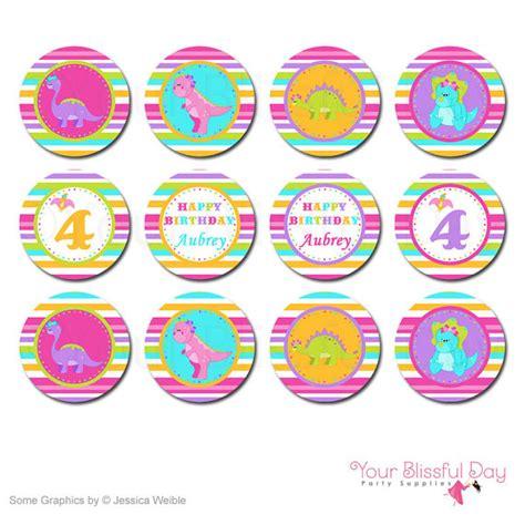 printable dinosaur stickers girl dinosaur party circles girl dinosaur cupcake