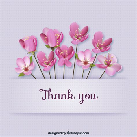 thank you card with flowers vector free
