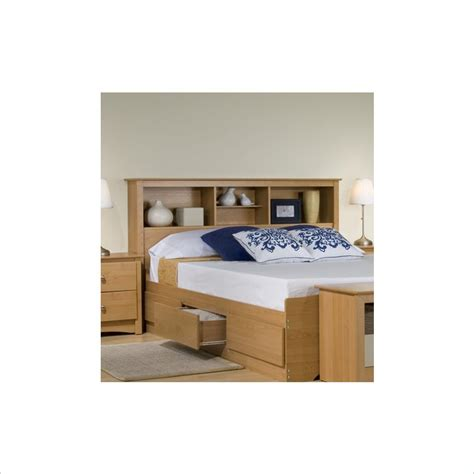 bookshelf headboard full prepac sonoma full queen bookcase headboard in maple finish