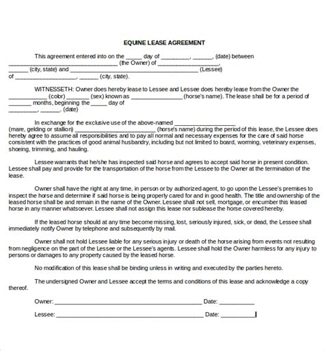 free printable horse lease agreement sle horse lease agreement 9 free documents in pdf word