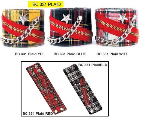 Id 1245 Studs Plaid Shirt plaid bracelet with zipper stud by funk plus