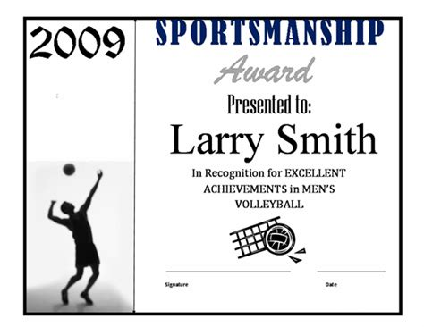 printable volleyball awards printable volleyball award certificate templates