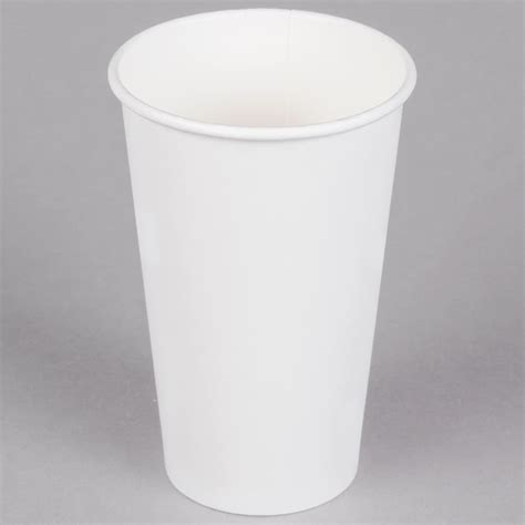 A Paper Cup - choice 16 oz white poly paper cup 50 pack