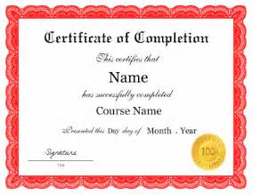 Certificate Of Completion Template Free Certificate Of Completion Template