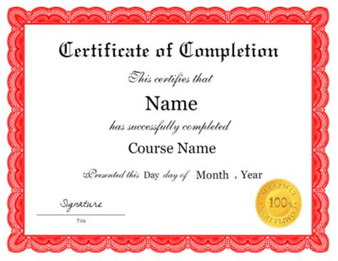 blank certificate of completion templates free certificate of completion template
