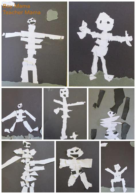 Torn Skeleton torn paper skeletons after school linky
