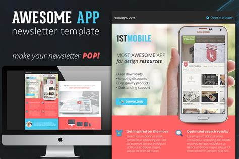 Flat And Colorful App Email Template Email Templates On Creative Market Colorful Email Templates