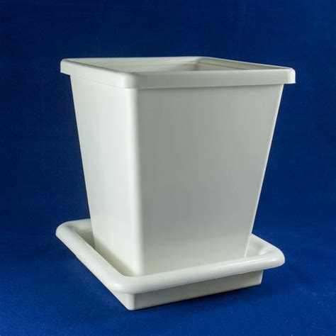 White Square Planter Pots by Square White Pot Plastic 6 5x8 Inch Nursery Planter Flower Garden Home Saucer Ebay