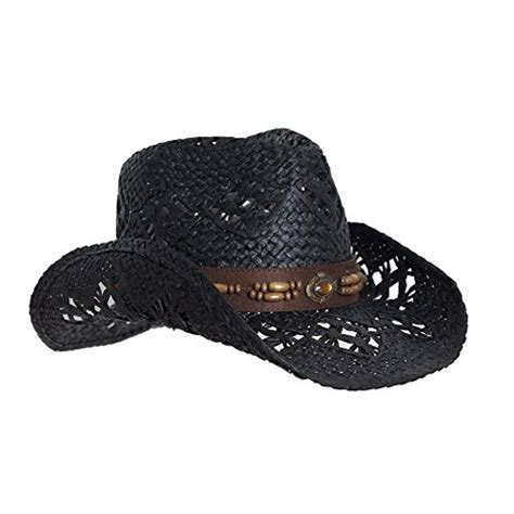 black straw cowboy hat for faux leather trim