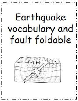 earthquake vocabulary earthquake faults vocabulary and foldable by sarah olsen