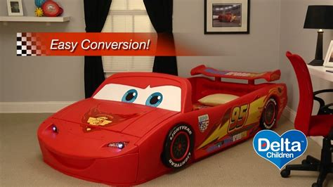disney cars toddler bed disney pixar cars convertible toddler to twin bed with lights and toy box youtube