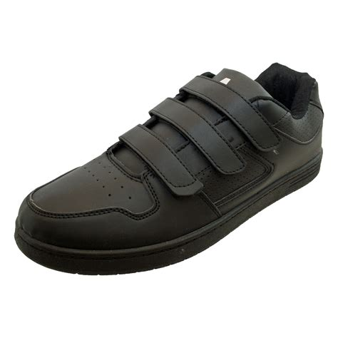 mens black flat velcro cheap casual trainers gents shoes