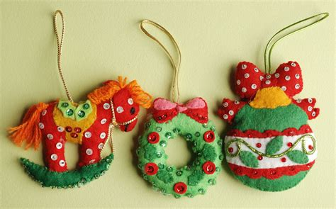 Handmade Felt Ornaments - handmade vintage felt sequin ornaments by