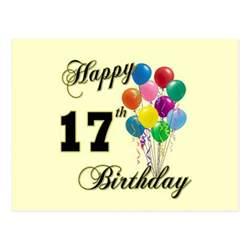 happy 17th birthday design with balloons postcard zazzle