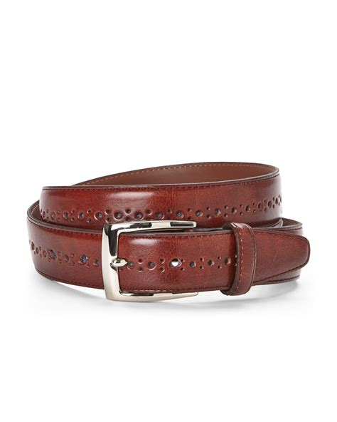 bosca perforated leather belt in brown for save 72